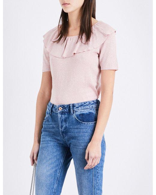 Claudie Pierlot | Blue Miami Frill-detail Metallic-knit Top | Lyst