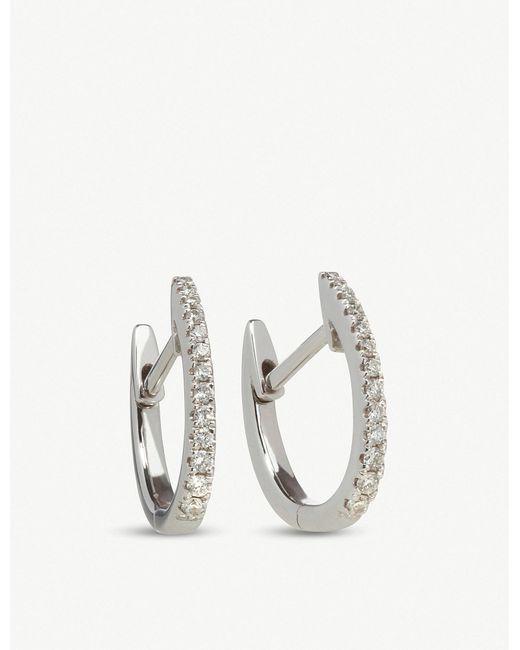 Annoushka - Metallic Eclipse 18ct White Gold Diamond Fine Hoop Earrings - Lyst