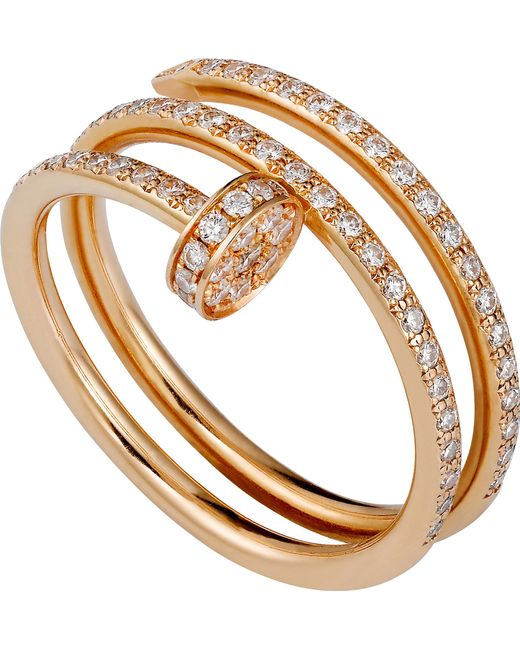 Cartier - Juste Un Clou 18ct Pink-gold And Diamond Double Ring - Lyst