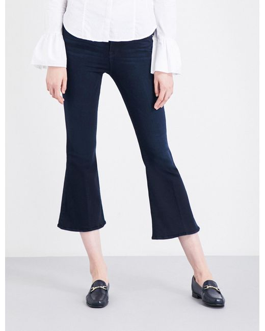 FRAME | Blue Ladies Cropped Concealed Zip Le Crop Bell Flared High-rise Jeans | Lyst