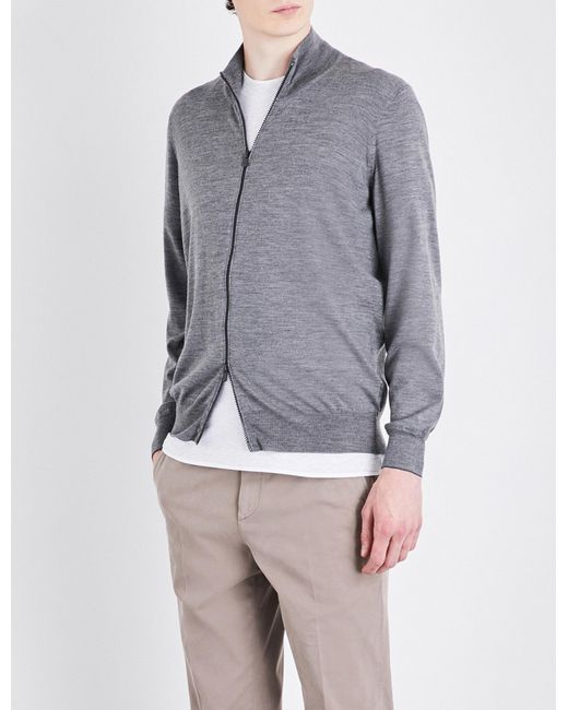 Brunello Cucinelli - Gray Zip-up Cashmere Cardigan for Men - Lyst