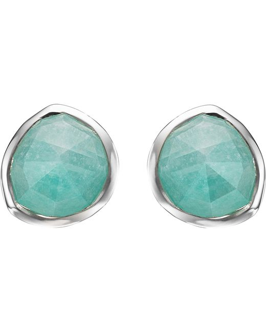 Monica Vinader - Metallic Siren Sterling Silver Amazonite Stud Earrings - Lyst