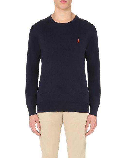 Polo Ralph Lauren   Blue Logo-embroidered Cotton-jersey Top for Men   Lyst