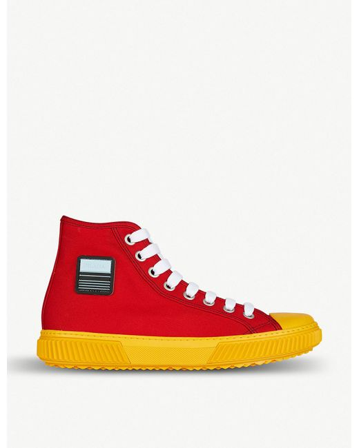 Prada - Red Logo-detail Canvas High-top Trainers for Men - Lyst