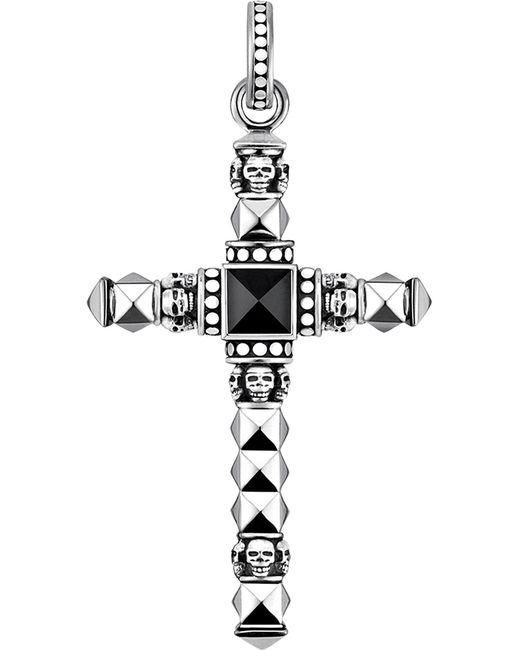 Thomas Sabo - Metallic Cross Skulls Sterling Silver And Onyx Pendant - Lyst