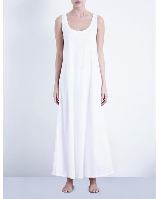 Hanro - White Deluxe Cotton-jersey Nightdress - Lyst