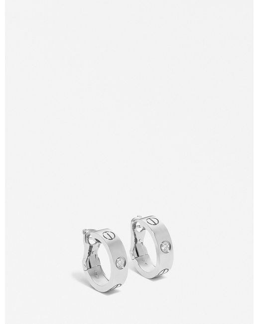 Cartier - Love 18ct White-gold Earrings - Lyst