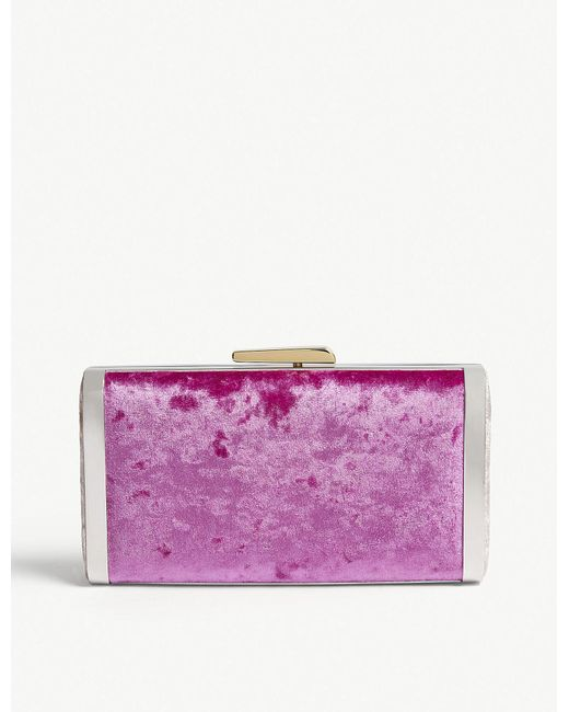 Hayward - Purple Fuchsia Pink Velvet Box Clutch Bag - Lyst
