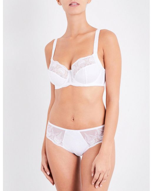 Fantasie | White Elodie Floral-embroidered Mesh Full-cup Bra | Lyst