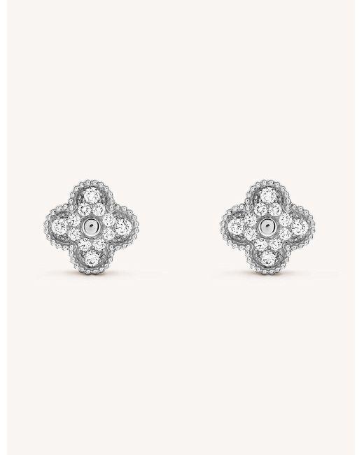 Van Cleef & Arpels - Metallic Sweet Alhambra White-gold And Diamond Stud Earrings - Lyst