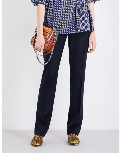 Stella McCartney - Blue Anna Straight-leg Wool Trousers - Lyst