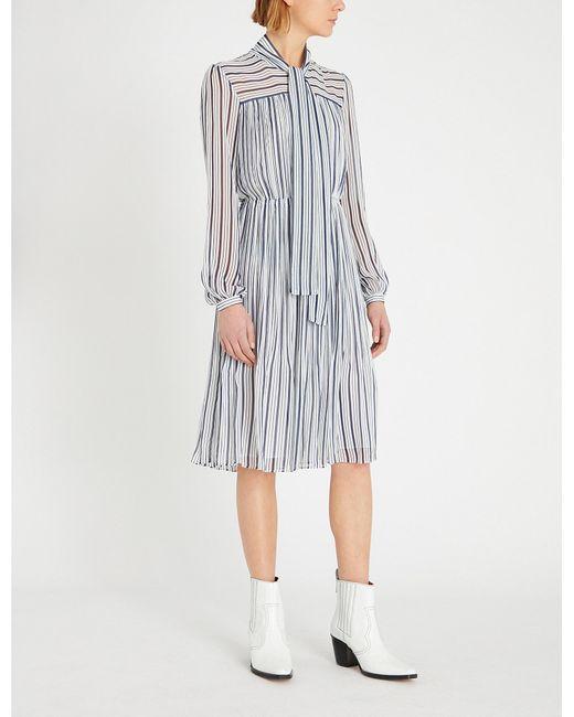 a1191216cc4 MICHAEL Michael Kors - White Carolina Neck-tie Striped Crepe Dress - Lyst