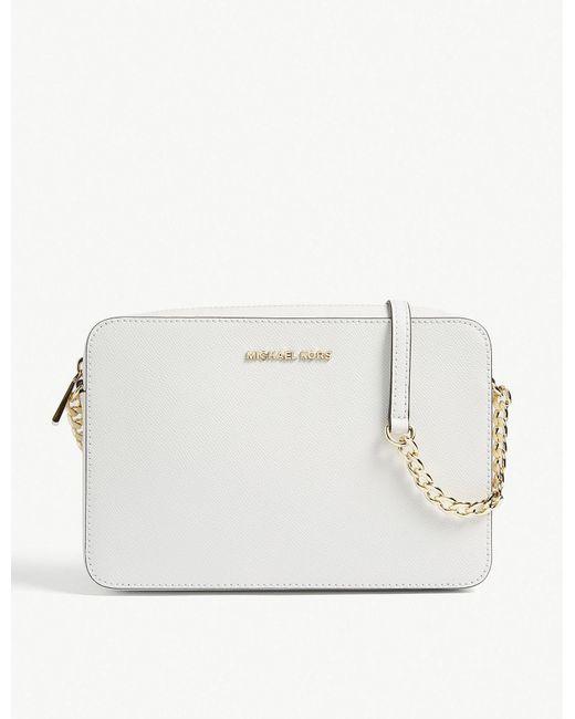 MICHAEL Michael Kors - White Logo Grained Leather Cross-body Bag - Lyst