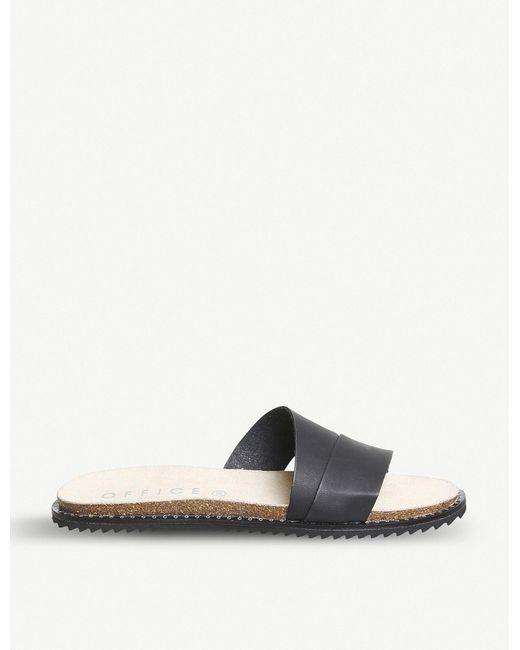 Office - Black Sorrento Asymmetric Leather Sandals - Lyst