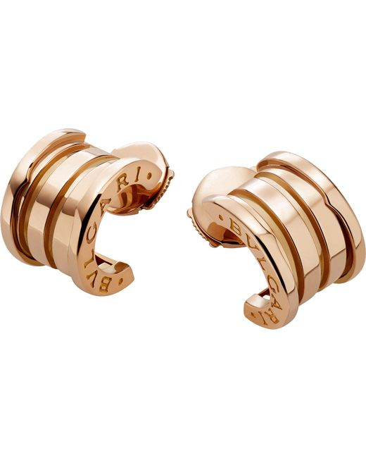 BVLGARI - Metallic B.zero 1 18ct Pink-gold Hoop Earrings - Lyst