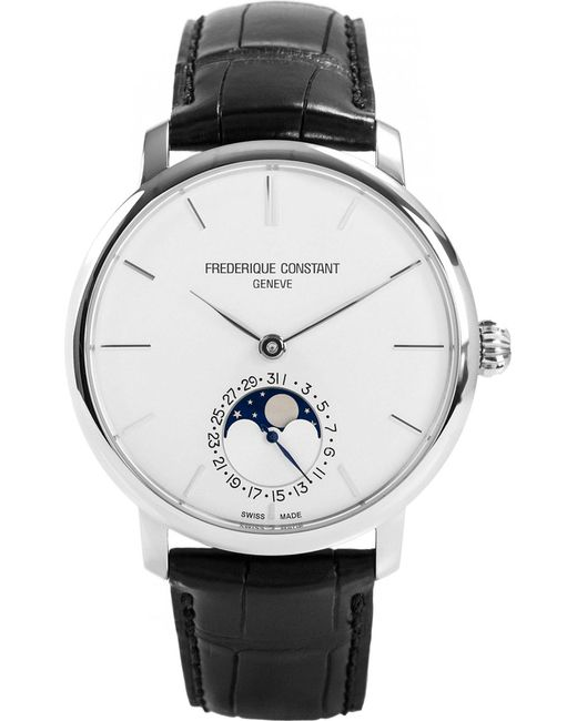 Frederique Constant - Black Fc705s4s6 Moonphase Stainless Steel And Leather Watch for Men - Lyst