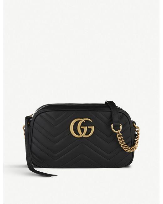 c66aada59543 Gucci Marmont Matelassé Leather Shoulder Bag in Black - Lyst