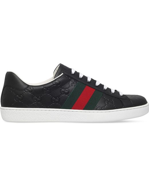 Gucci | Black New Ace Leather Trainers for Men | Lyst