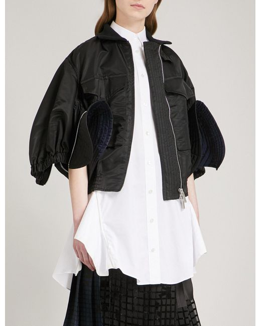 Sacai | Black Cropped Satin Bomber Jacket | Lyst