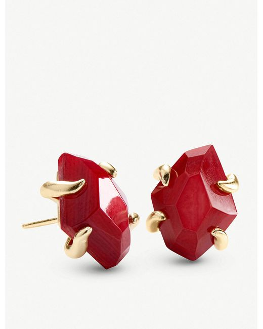 Kendra Scott - Metallic Inaiyah 14ct Gold-plated And Red Mother-of-pearl Earrings - Lyst
