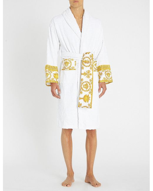Versace - White Baroque Logo Cotton-jacquard Dressing Gown for Men - Lyst a01694535