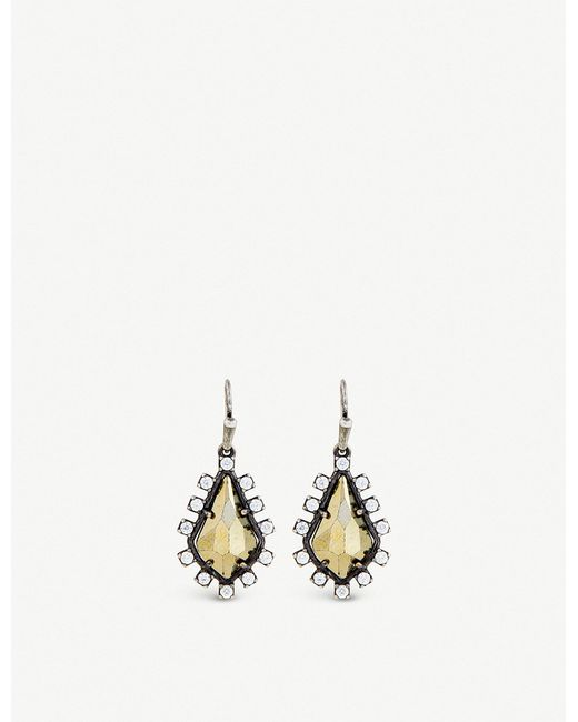 Kendra Scott - Brown Juniper Antique Silver-plated Brass And Pyrite Earrings - Lyst
