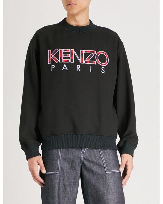 KENZO - Black Logo-embroidered Cotton-jersey Sweatshirt for Men - Lyst