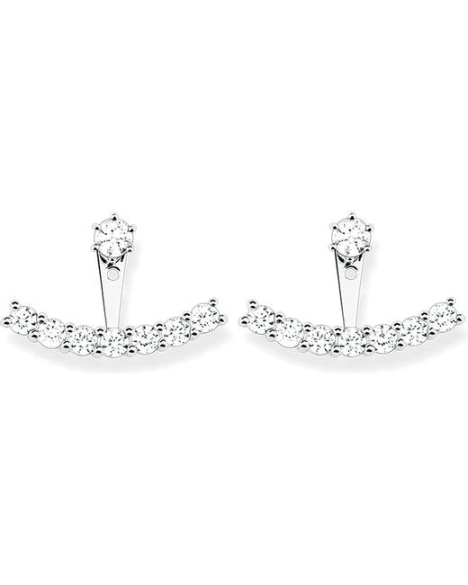 Thomas Sabo - Metallic Sterling Silver And White Zirconia Ear Jackets - Lyst
