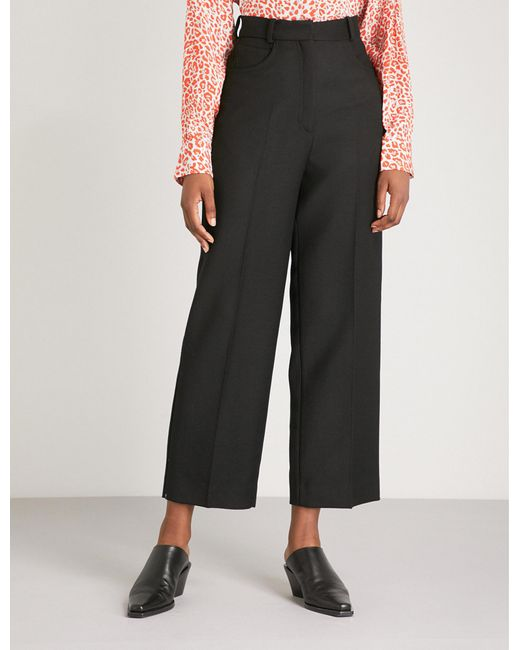 Sandro - Black High-waisted Wool-blend Trousers - Lyst