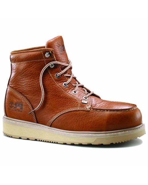 e9047909e3a Lyst - Timberland 6 Inch Barstow Wedge Alloy Toe Work Boots in Brown ...
