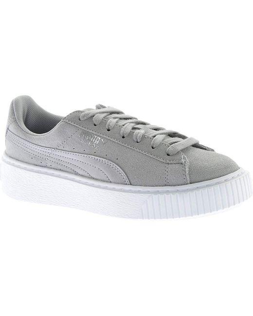 PUMA - Gray Suede Platform Safari Sneaker - Lyst