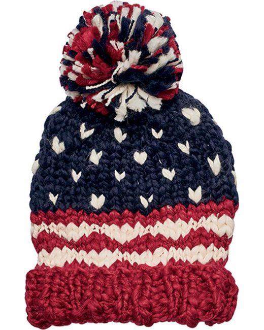 San Diego Hat Company - Red Crochet Knit Americana Beanie Knh3453 - Lyst