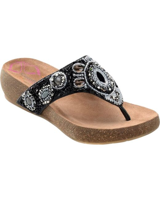 Comfortiva Sade Beaded Thong Wedge Sandal (Women's)