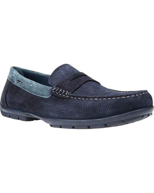 logo embossed loafers - Blue Geox Yva8EqNye