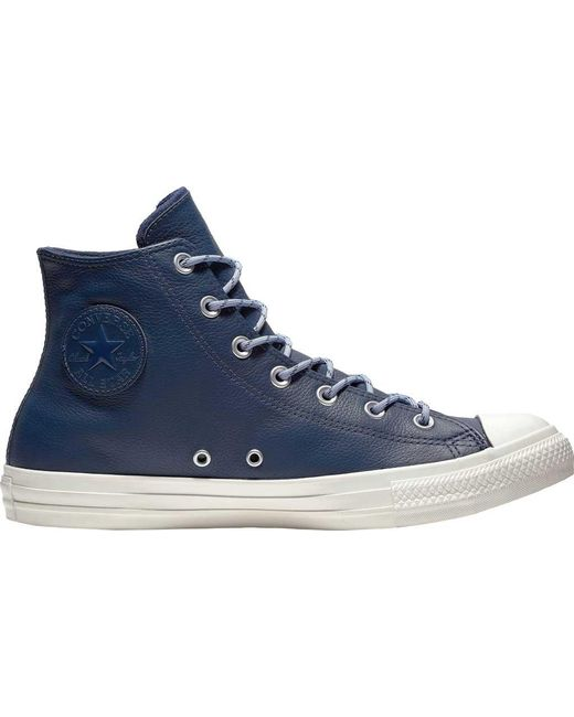 Lyst - Converse Chuck Taylor All Star Leather High Top in Blue for Men 69603cda7
