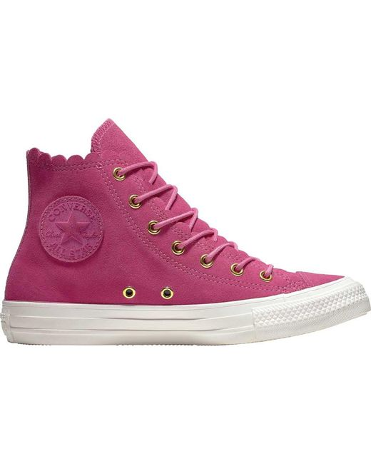 4151c71de6d7 Lyst - Converse Chuck Taylor All Star Frilly Thrills High Top in Pink
