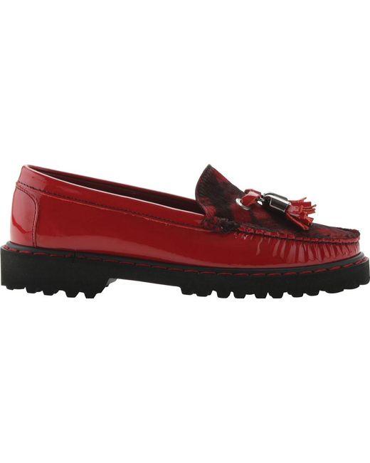 ELEVTD - Red Jesse Patent Lug Sole Tassel Loafer - Lyst