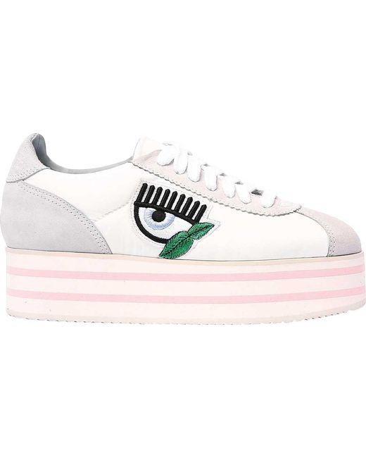 7a2478bfdcf Chiara Ferragni - White Platform Sneaker - Lyst ...