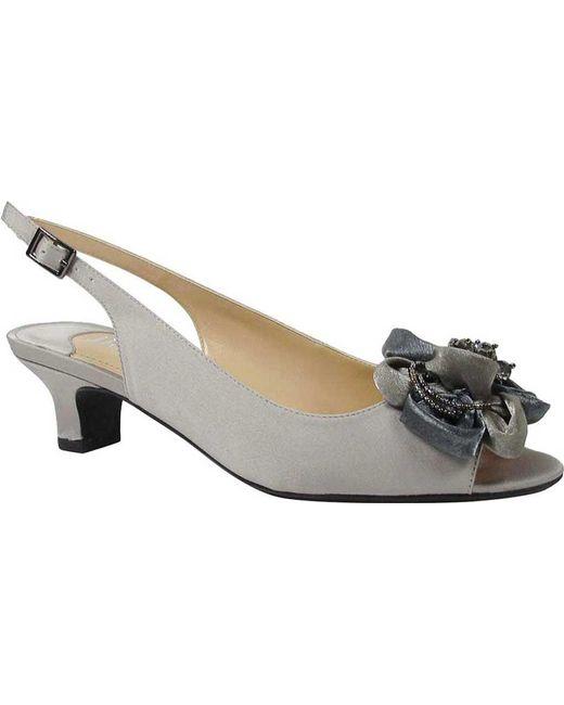 7d8822070532 J. Reneé - Gray Leonelle Low Heel Open Toe Slingback - Lyst ...