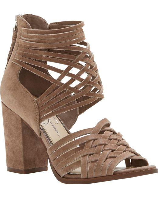 Jessica Simpson | Brown Reilynn Suede Leather Back Zip Block Heel Strappy Sandals | Lyst