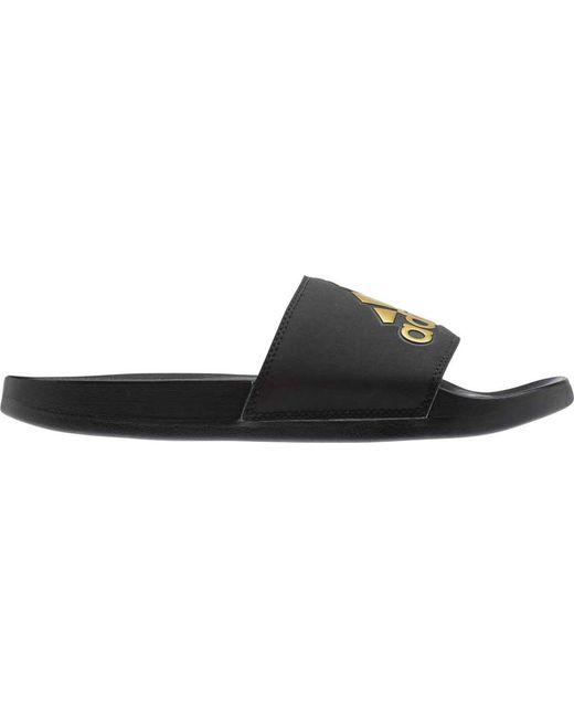 buy popular 6a2a5 bafb2 ... Adidas - Black Adilette Cloudfoam Plus Logo Slides - Lyst ...