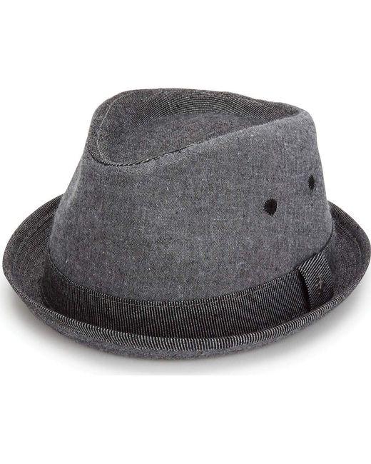 e72a4ef8e7f3c Original Penguin - Black Chambray Porkpie for Men - Lyst ...