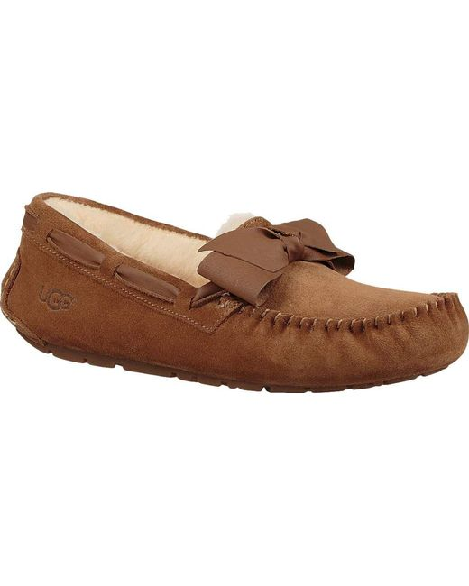 Ugg - Brown Dakota Leather Bow Moccasin Slipper - Lyst ...
