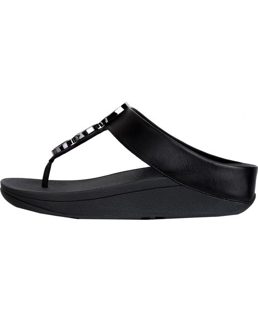 474fa9045e3e4 ... Fitflop - Black Halo Thong Wedge Sandal - Lyst ...
