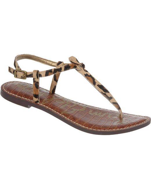 2db5ce2467cd Sam Edelman - Brown Gigi Leopard-print Calf Hair T-strap Sandals - Lyst ...