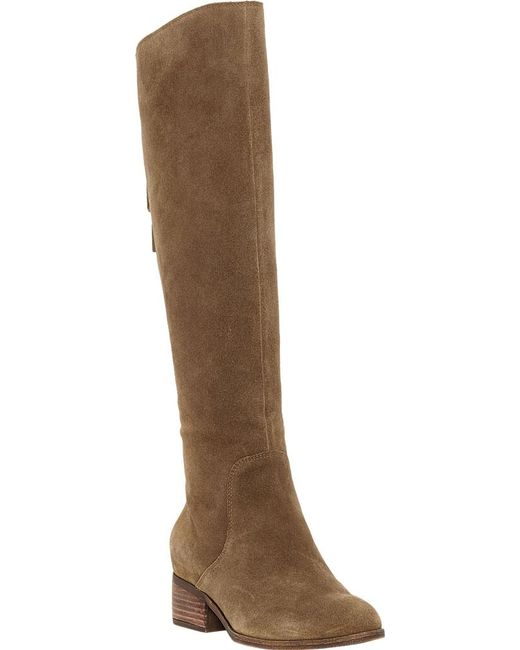 Lyst Lucky Brand Lanesha Wide Calf Knee High Boot In Brown Save 39