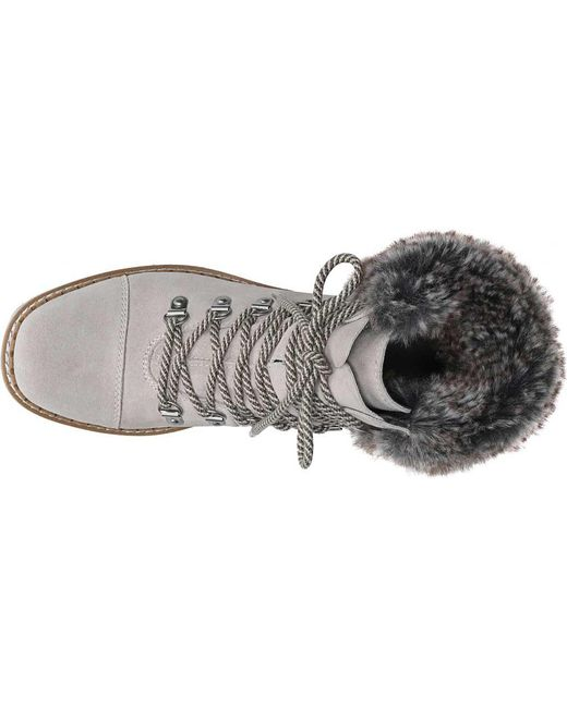 8d23bd11dcbee ... Sam Edelman - Gray Bowen Bistro Suede And Faux Fur Hiking Boots - Lyst  ...