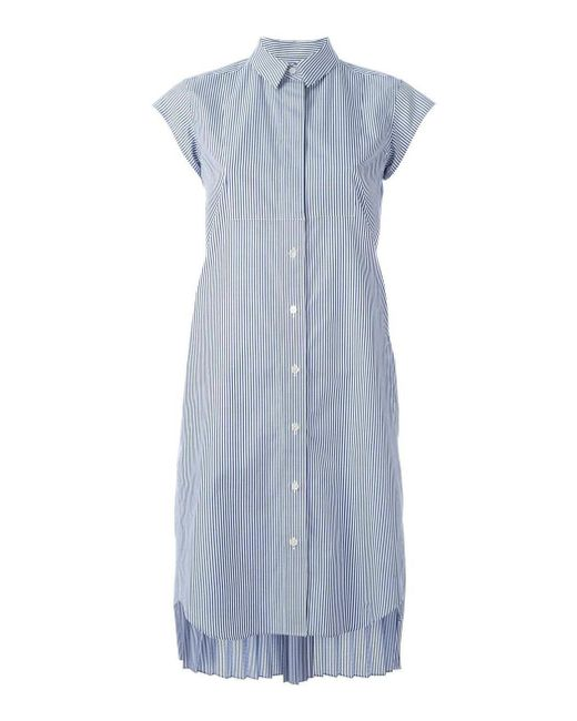 Sacai | Blue Striped Shirt Dress | Lyst