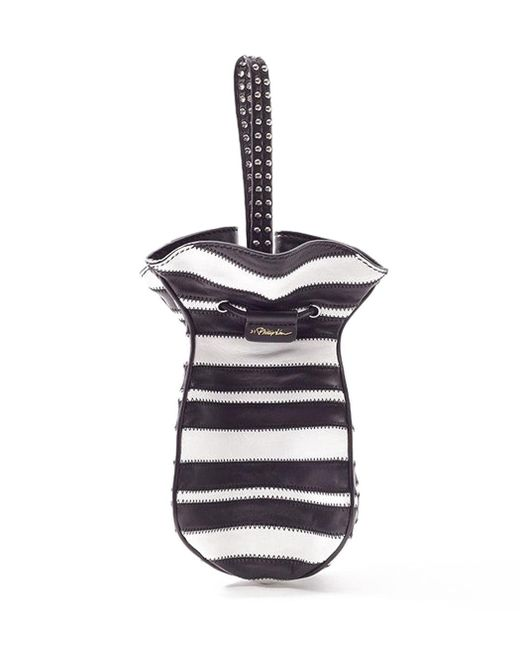 3.1 Phillip Lim - Black White Striped Ray Mini Glove Pouch - Lyst