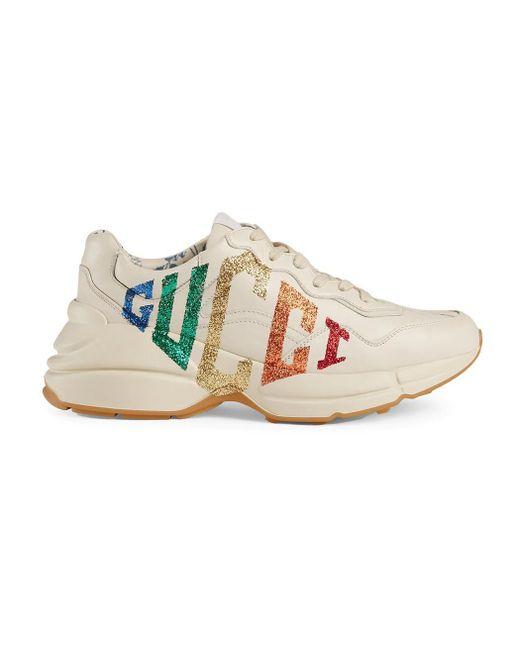 3eb19c3e9 ... Gucci - Multicolor Glitter Leather Sneaker - Lyst